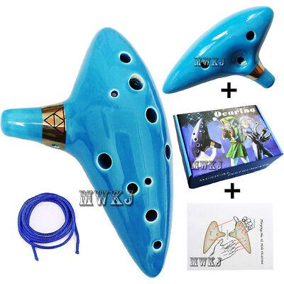 12 Hole Sky Blue Zelda Ocarina of Time Ceramic Alto C Flute X-mas Gift for Kids