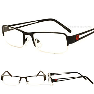 New Fashion Frame Classic Designer Clear Half Rimless Khan Eyeglasses Mens Women