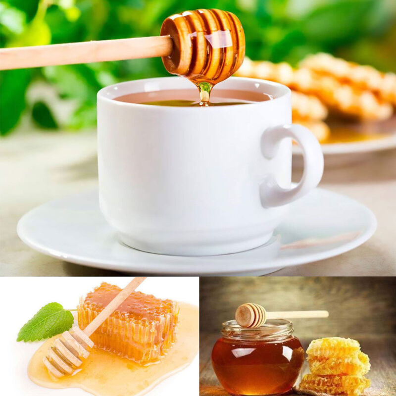 2PCS Wooden Syrup Spoon Jam Honey Coffee Stirring Rod Kitchen Gadgets Craft