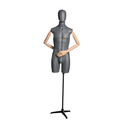 Adult Male Matte Gray Egg Head Fiberglass Mannequin 34 Torso With Flexible Arms