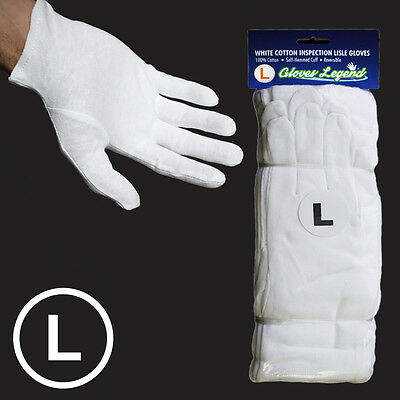 Size Large - 12 Pairs White Coin Jewelry Silver Inspection Cotton Lisle Gloves