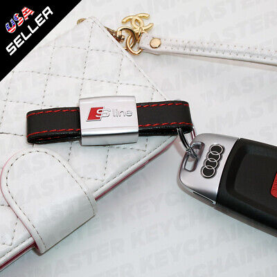 Universal Audi S-LINE Genuine Leather Keychain Elegant Strap Zinc Alloy Ring