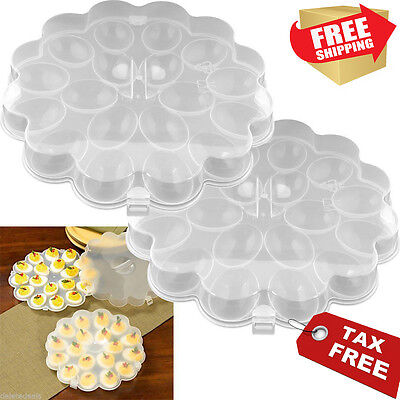 Deviled Egg Trays SET OF 2 Carrier Platters with Lids Travel Plates Containers - Deviled Egg Tray