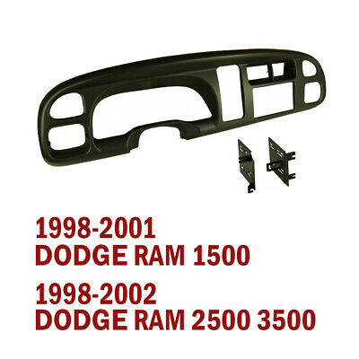 1998 - 2002 DODGE RAM 1500 2500 3500 DOUBLE DIN 2-DIN COMPLETE DASH KIT (BLACK)