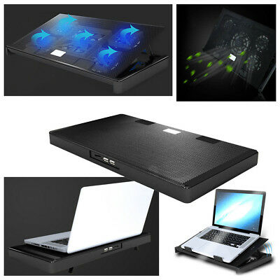 Chill Mat Cooling Stand - 5 Fans Laptop Cooler Stand USB Cooling Pad Chill Mat 12''-17'' Inch Notebook PC