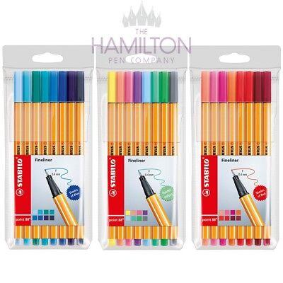 STABILO POINT 88 FINELINER PEN - Various assorted packs of 8 fineliner pens!