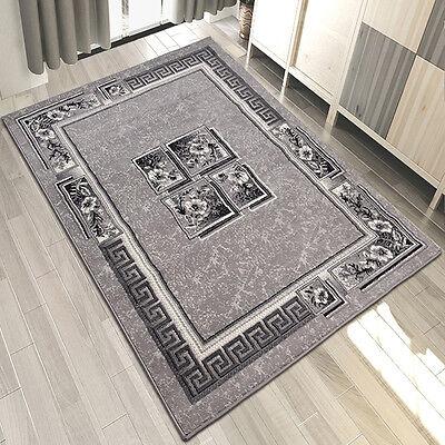 Griechische Muster (Teppich Modern Wohnzimmer Kurzflor Griechisch Muster mit Blumen in Grau)