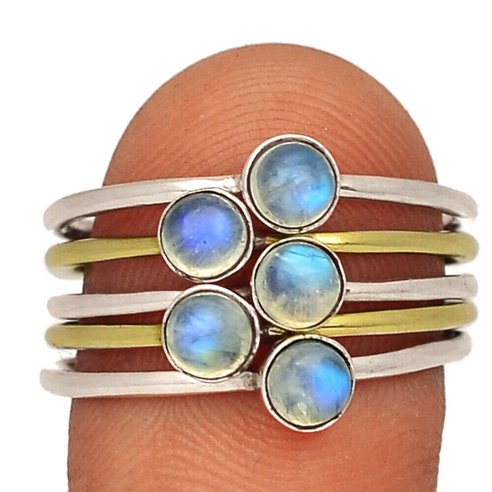 Two Tone - Moonstone - India 925 Sterling Silver Ring Jewelry S.9 BR40350 - $13.99