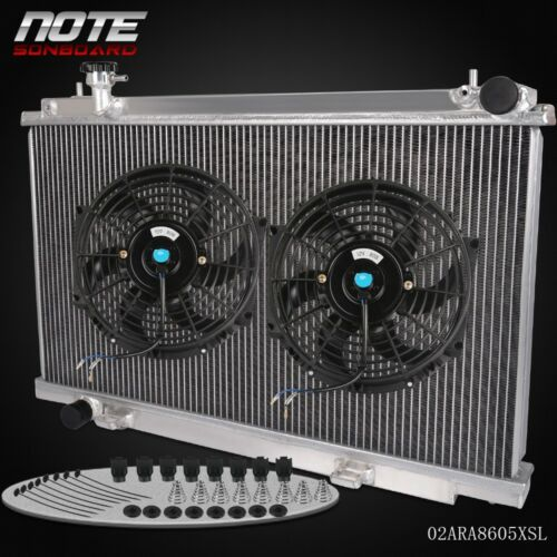 For 03-2006 Nissan Fairlady 350Z Z33 Manual MT Racing Aluminum Radiator+2 * Fan