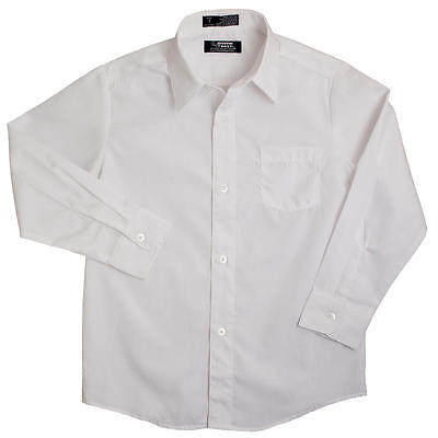 Boys french toast white broadcloth button down long sleeve dress shirt 55%cotton - White Dress Shirt Boys