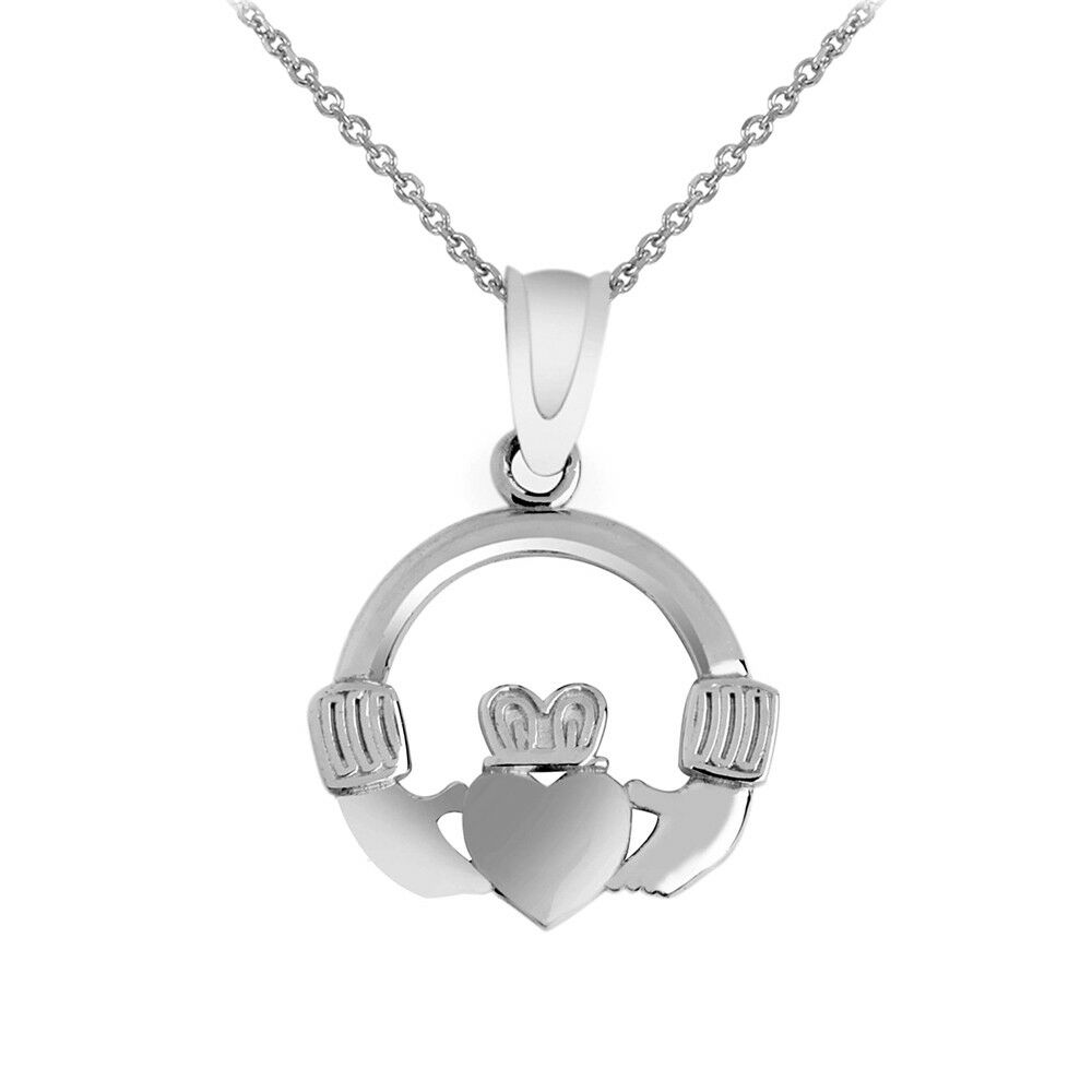 Pure .925 Sterling Silver Claddagh Pendant Necklace
