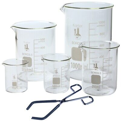 Glass Low Form Beaker Set With Beaker Tongs 5 Sizes - 50 100 250 500 And 1l