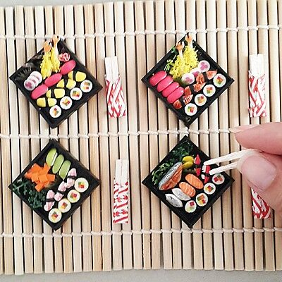 Set4 Dollhouse Miniatures Sushi Bento Tempura Wooden Box Japanese Food Chopstick for sale  Shipping to Canada
