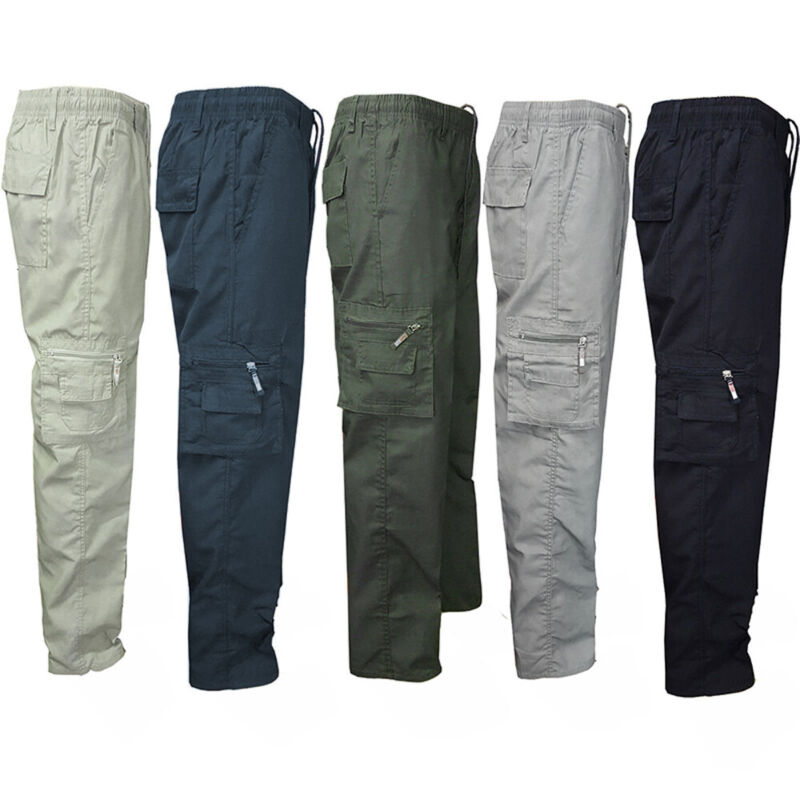 ❤️ Mens Cargo Combat Work Trousers Army Military Camo Camouflage Casual Pants Us