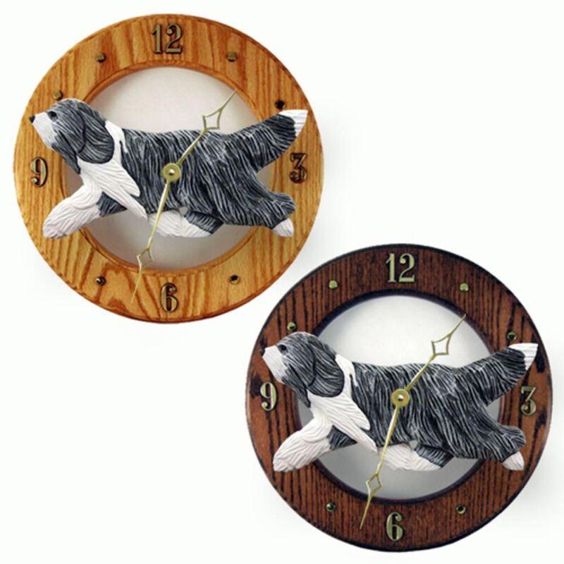 Bearded Collie Wood Clock Blue