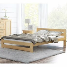 Pinewood Bed Frame 135x190 4FT6 Double Size Rack Slat Unvarnished Bedroom Teen