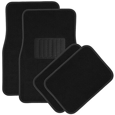 Car Floor Mats for Auto 4pc Carpet Semi Custom Fit Heavy Duty w/Heel Pad Black