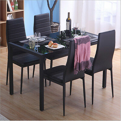 Panana Black Glass Dining Table and 4 Faux Leather Chairs Set Kitchen Furniture