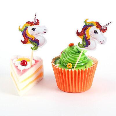 24pcs Unicorn Cupcake Toppers Picks Kids Birthday Party Baby Chocolate Decor