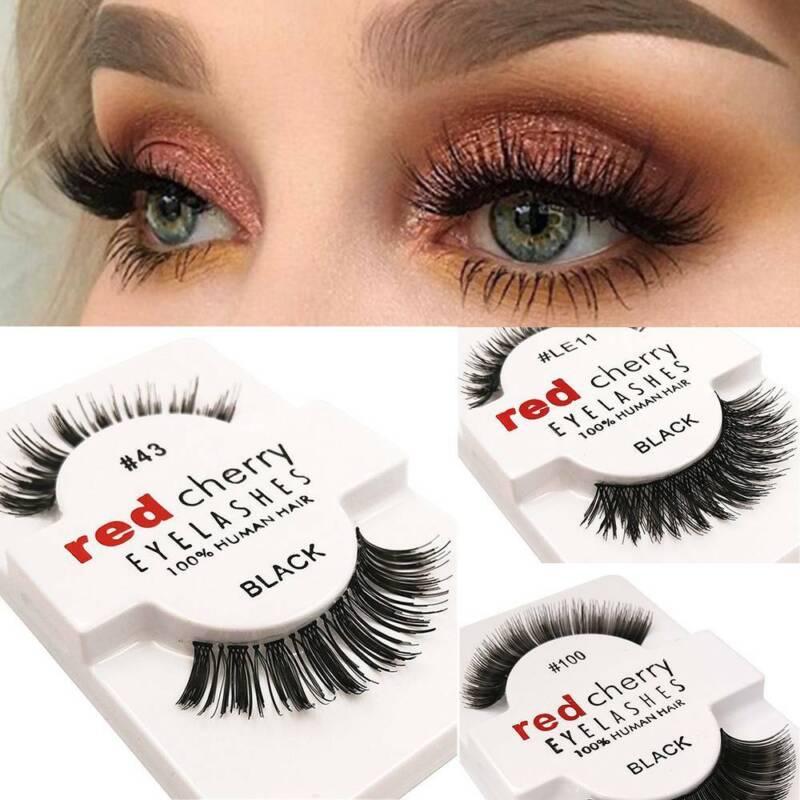 1Pair Lashes Soft False Human Hair Eyelashes Adhesives Glamo
