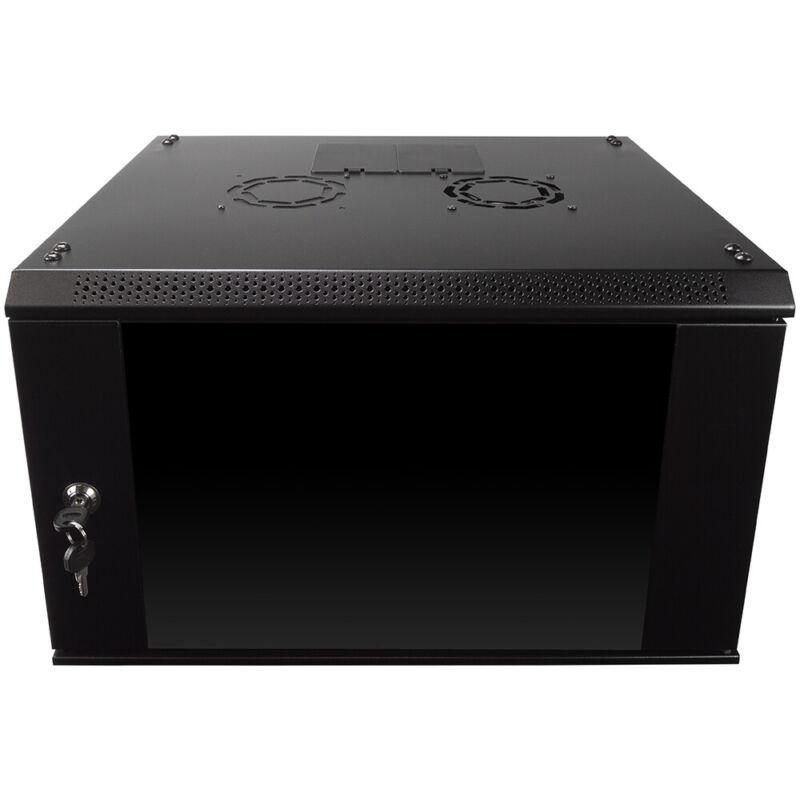 6U Wall Mount Network Server Data Cabinet Enclosure Rack Glass Door Lock w/ Fan