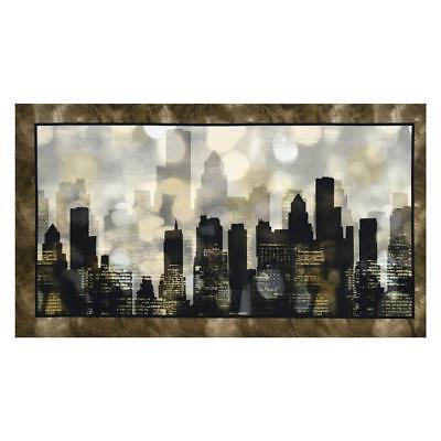 Panel Urban Lights - City Scape Urban Skyline Buildings Black Cotton Fabric QT Artworks 24