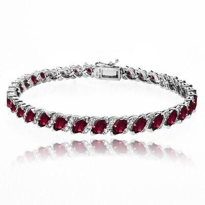 Created Ruby Tennis Bracelet with White Topaz Accents in Sterling (Created Ruby Tennis Bracelet)