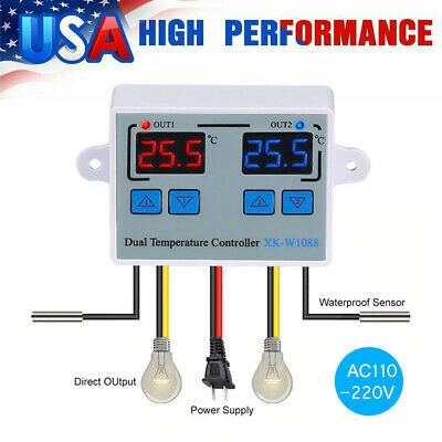 LED Digital Control Temperature Thermostat Switch incubator Heating Cooling Q0V1