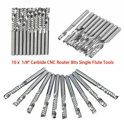 10pcs Carbide Flat Nose End Mill Cutter Set Cnc Single Flute Router Bits Tool Ny