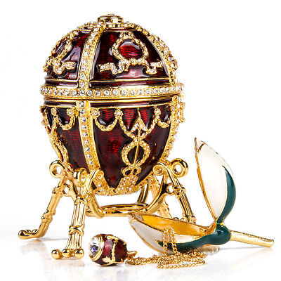 Decorative Red Faberge Egg Replica Jewelry Box Easter Rosebud Egg with - Easter Egg Surprises