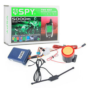 SPY 5000m 2 Way LCD Motorcycle Alarm System Engine Start Anti-theft + 2 Remote