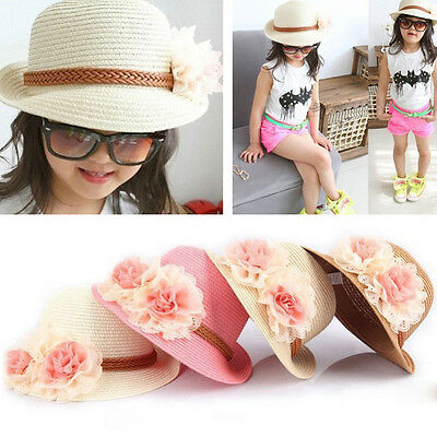 US Stock Baby Girl Wide Brim Trilby Straw Cap Sun Hat Beach Summer Floral Sunhat - Fedora Hat Girl