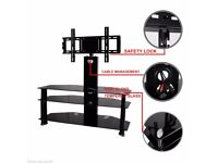 "Black Tempered Glass TV Stand With Bracket Cantilever For 42"" 30-49"" Plasma LED"