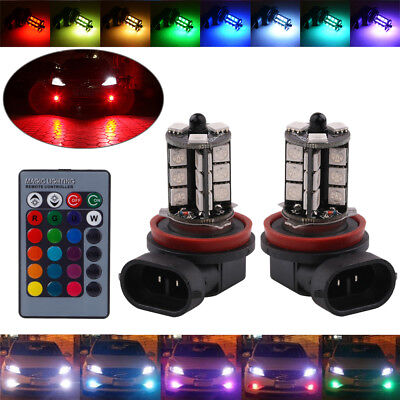 7 Colors RGB H11/H8 LED Bulbs with Wireless IR Remote For Fog Light Driving Lamp