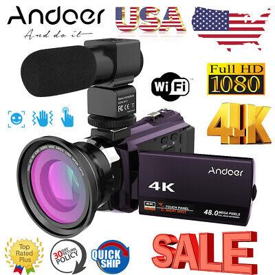 Andoer WiFi 4K HD 1080P 48MP Digital Video Camera Camcorder DV DVR & Mic & Lens