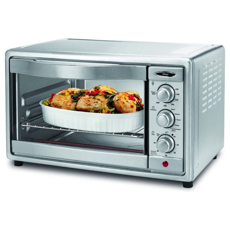 Oster 6 Slice Brushed Stainless Steel Convection Toaster Oven, Silver (Open Box)