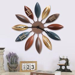 Vintage Large Leave Shape Wall Clock Silent Iron Clock Roman Numeral Home Decor