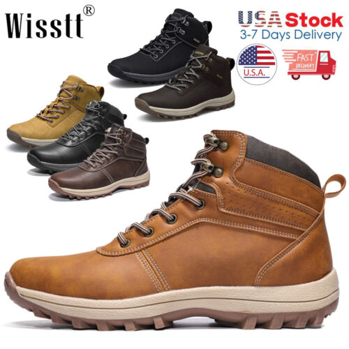 Men's Waterproof Leather Hiking Work Shoes Outdoor Water Boo
