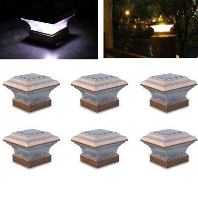 6x LED Outdoor 4X4 Garden Solar Copper Post Deck Cap Square Fence Light Plastic Copper Outdoor Solar Light