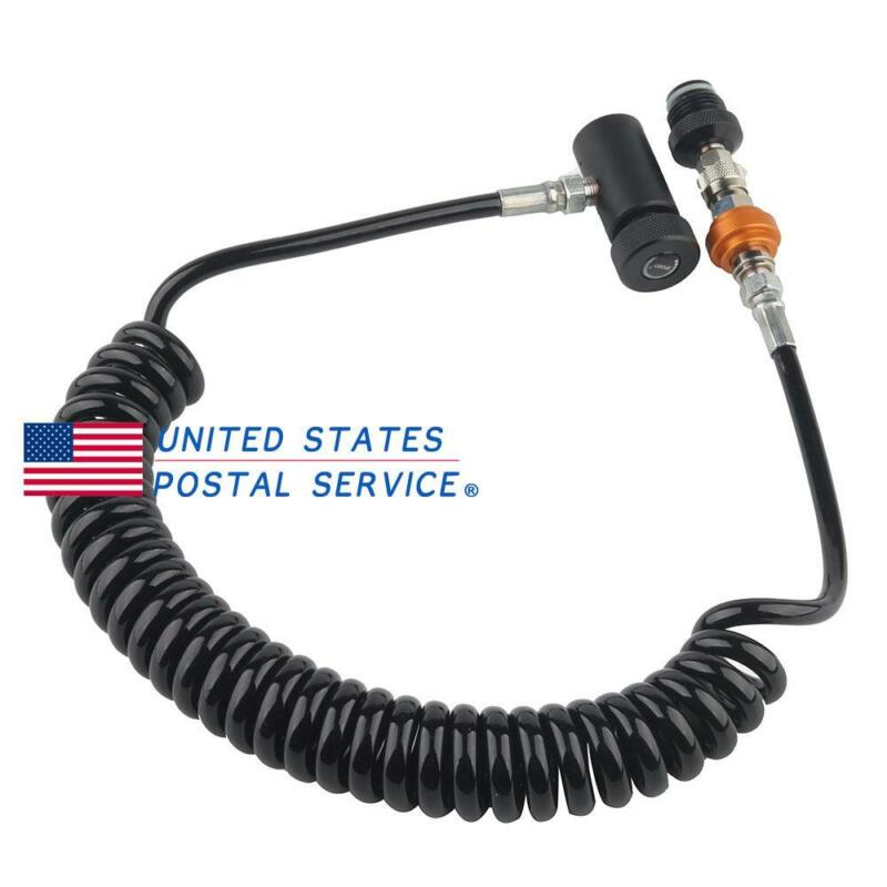 Paintball Remote Line Coiled Hose ASA Quick Release PCP HPA Air Filling Tank US