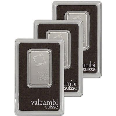 1 oz. Platinum Bar - Valcambi Suisse - 999.5 Fine in Assay - Three 3 Bars