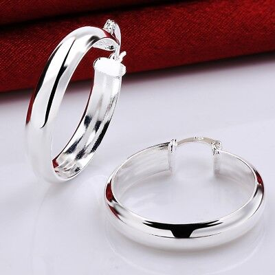 (925 Sterling Silver Hypo-Allergenic 30mm Medium 5mm Wide Flat Hoop Earrings H64)