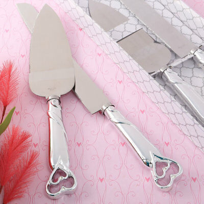 Personalized Wedding Cake Servers ( PERSONALIZED Double Heart Wedding Cake Server Serving Set Knife Reception)
