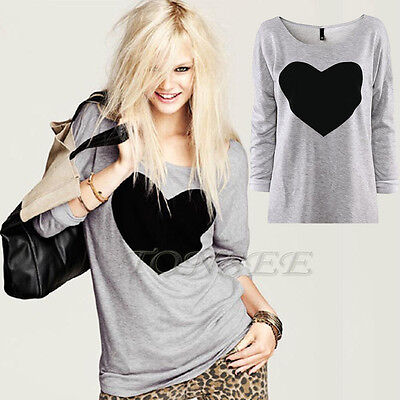 Fashion Women Cotton Round Neck Love Heart Printed Long Sleeved T-Shirt Blouse