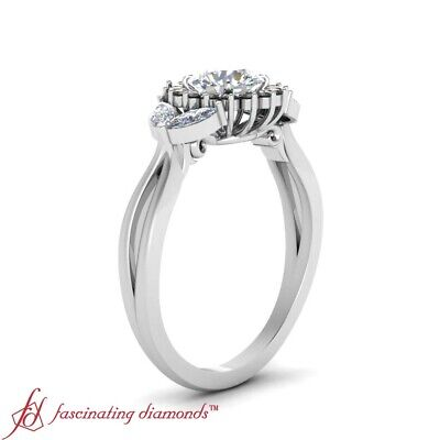 Round Cut White And Black Diamond Halo Engagement Ring In 18K White Gold 1.15 Ct 2