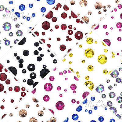 144 pcs Mixed Sizes Swarovski 2058 2088 Crystal Flatbacks (Pick your Colors)