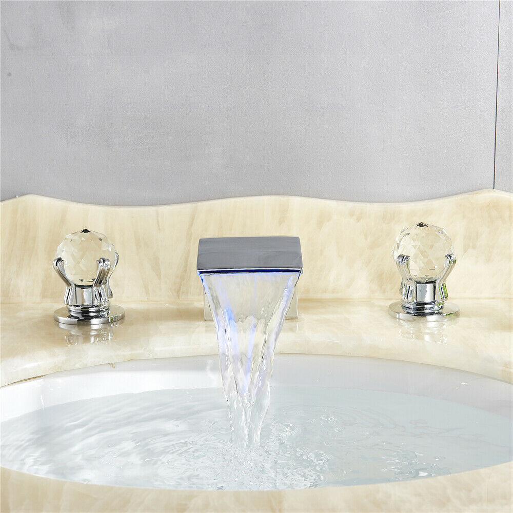 Chrome Widespread LED Basin Sink Faucet Waterfall Bathroom 3 Holes Faucet 4