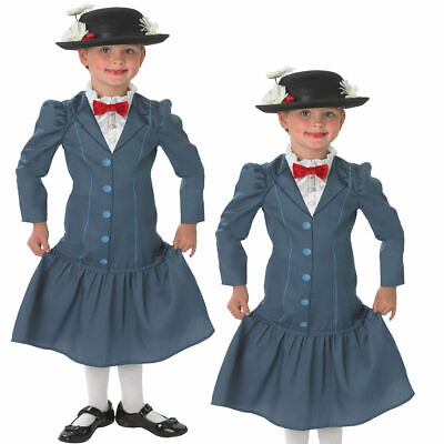 Lizenziert Mary Poppins + Hut Mädchen Kostüm 60s Disney Kinder Kostüm - Mary Poppins Kostüm Kinder
