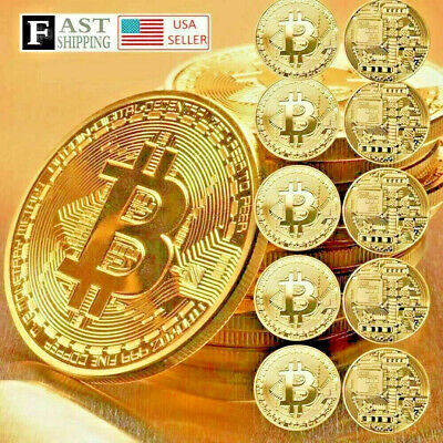 10 Pcs Gold Bitcoin Coins Commemorative 2019 New Collectors Gold Plated Bit Coin