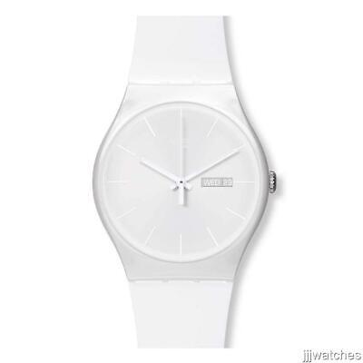 New Swatch Swiss Originals White Rebel Rubber Band Date Watch 42mm SUOW701 $80